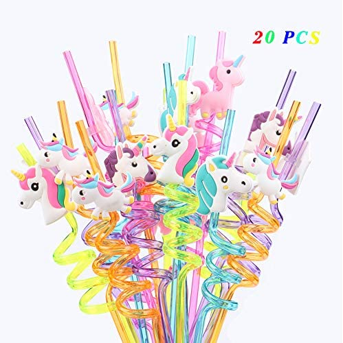 8 Einhorn Trinkhalme Unicorn Party Deko Geburtstag Strohhalme Trinkstäbchen