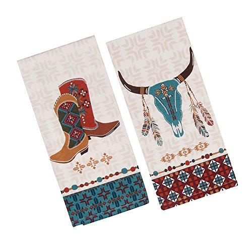 Southwest at Heart Kitchen Towel Set - Cowboy Boots & Cattle Skull (2 Item Bundle) by Kay Dee