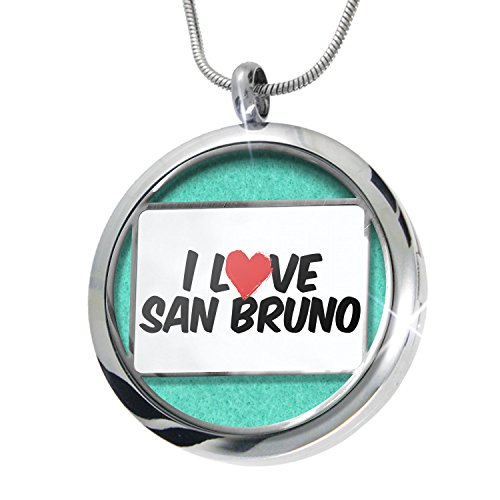 NEONBLOND I Love San Bruno Aromatherapy Essential Oil Diffuser Necklace Locket Pendant Jewelry Set