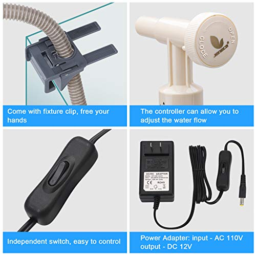 bedee Aquarium Gravel Cleaner, Fish Tank Vacuum Cleaner, 4 in 1 Automatic Aquarium Siphon Filter Kit with Adjustable Water Flow Controller for Water Changing and Sand Washing, DC 12V, 18W