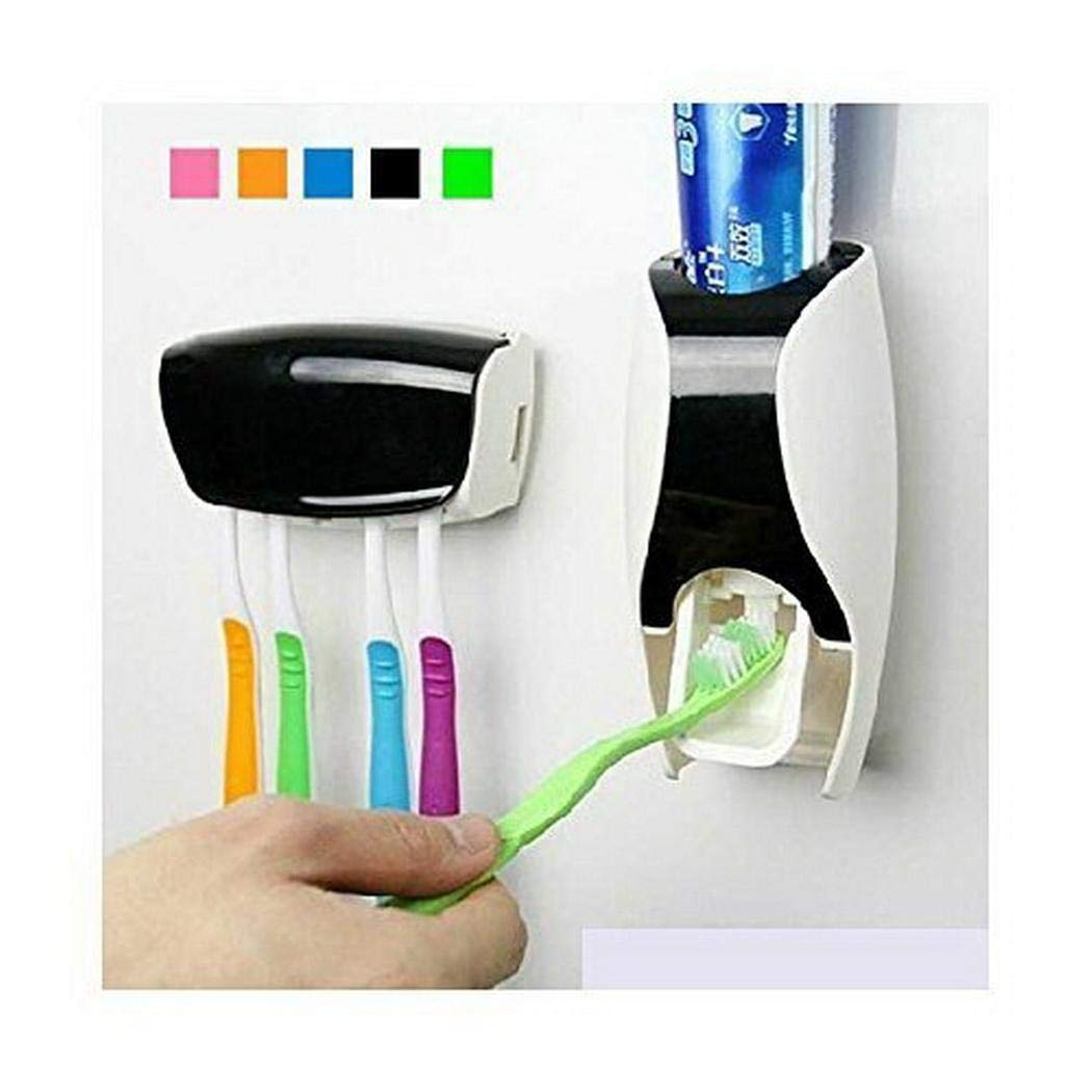Kindsells 5 Toothbrush Holder Automatic Toothpaste Dispenser Set Wall Mounted Hands Free Toothpaste Squeezer