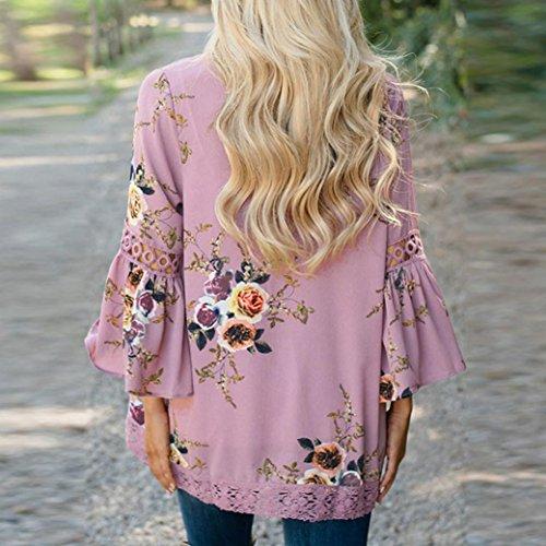 Blusa Impresión Casual DAYLIN Floral Rosa Suelto Capa Encaje Chaqueta Kimono Mujer Cárdigan 1q1nx70