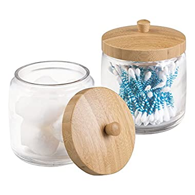mDesign MetroDecor Bathroom Vanity Canister Jar for Cotton Balls, Swabs, Cosmetic Pads, 2 Piece, Clear/Natural