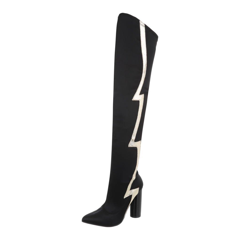 Ital-Design Overknees Damenschuhe Overknees Pump High Heels Reißverschluss Stiefel  40 EU|Schwarz JR-010