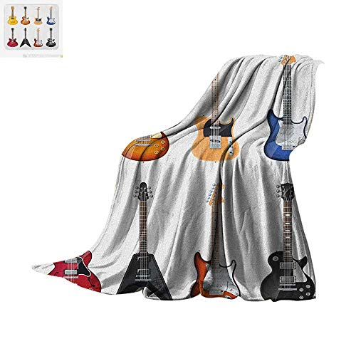Guitar Warm Microfiber All Season Blanket A Wide Variety of String Instruments Realistic Musical Pattern Jazz Blues Acoustic Summer Quilt Comforter 80