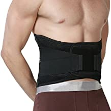 Adjustable Deluxe Double Pull Lumbar Brace / Lower Back Belt, Pain Relief, Breathable Material - WIDE Back Support - NEOtech Care™ Brand - Black Color - Size S
