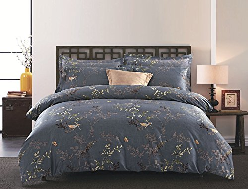 Wake In Cloud 3pcs Gray Comforter Set King, Birds Floral Flowers Leaves Pattern Printed On Dark Grey, light Microfiber Bedding (King Size)