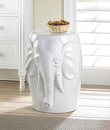 White Ceramic Elephant Decorative Side Table Or Stool By FA Decors
