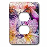 3dRose Andrea Haase Art Illustration - Women Face Illustration Art With Handwriting - Light Switch Covers - 2 plug outlet cover (lsp_268117_6)