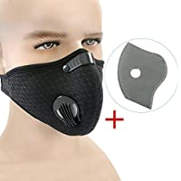 Dustproof Mask, Vanmor Carbon Dust Mask with Extra Filter Cotton Sheet for Exhaust Gas, Pollen Allergy, PM2.5, Running, Cycling, Outdoor Activities