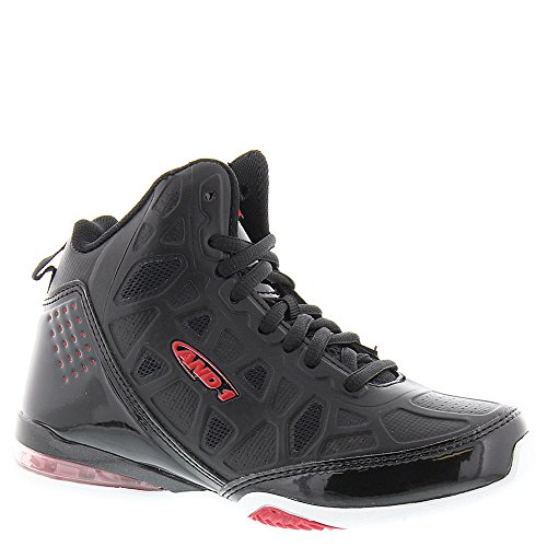 AND1 Kid's Master 3 Basketball Shoe, 4 M US Big Kid Black-White-Red