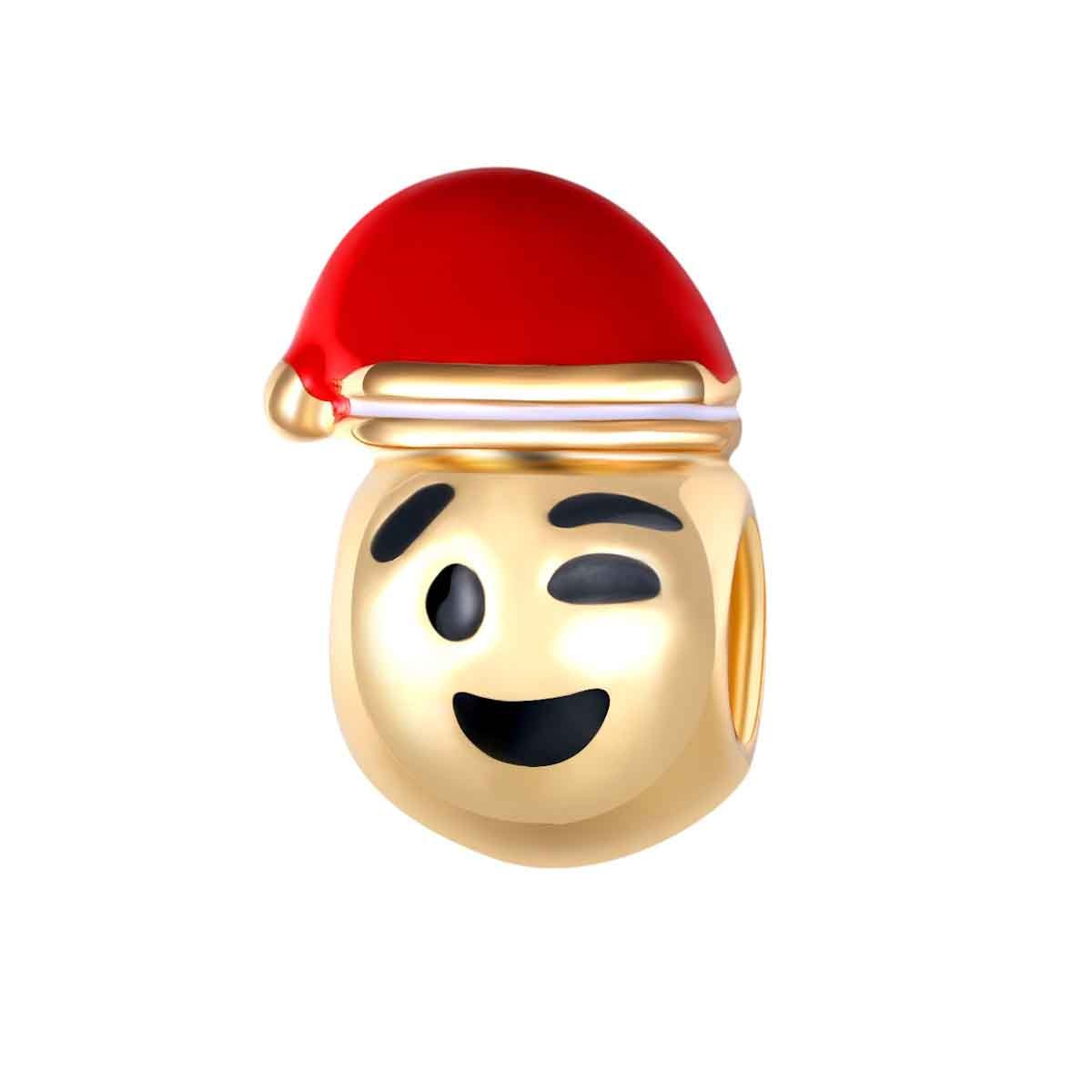 Bling Stars Gold Plated Christmas Hat Wink Emoji Smiley Emoticon