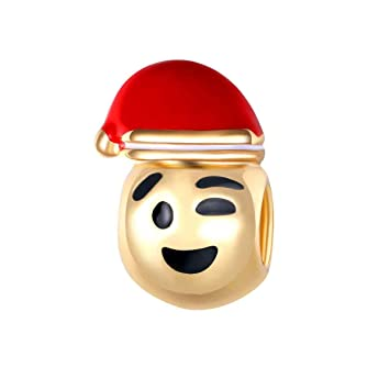 bling stars gold plated christmas hat wink emoji smiley emoticon beads fit pandora charms bracelet - Christmas Smiley Faces