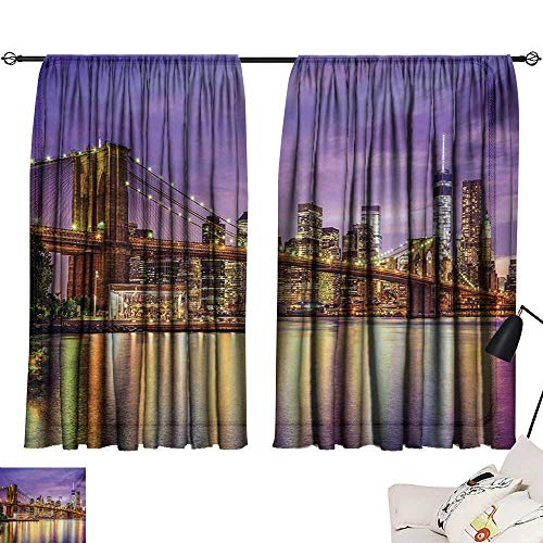 Davishouse New York Light Luxury high-end Curtains NYC Exquisite Skyline Manhattan Broadway Old Neighborhood Tourist Country Print Darkening and Thermal ()