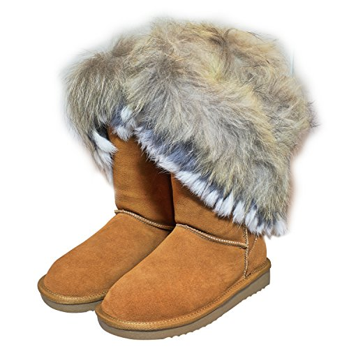bester Ort für am besten bewertet neuesten zarte Farben Unbekannt Echtleder Fell Boots Pelz LANGSTIEFEL Schuh Damen BOMMEL Leder  Winterstiefel