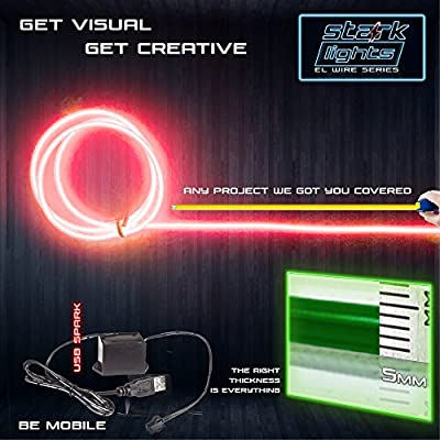 Amazon com: 1-Pack 5m/16 4ft Red Neon LED Light Glow EL Wire