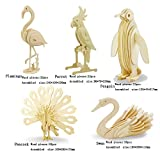 paint puzzle - 3D Wooden Animal Puzzle Flamingo,Parrot,Penguin,Peacock,Swan 3D DIY Assembly Model Toy For Kids And Adults (5 Piece/Set)