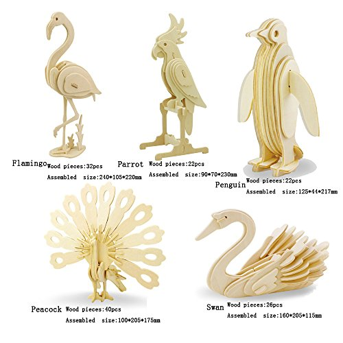 3D Wooden Animal Puzzle Flamingo,Parrot,Penguin,Peacock,Swan 3D DIY Assembly Model Toy For Kids And Adults (5 Piece/Set)