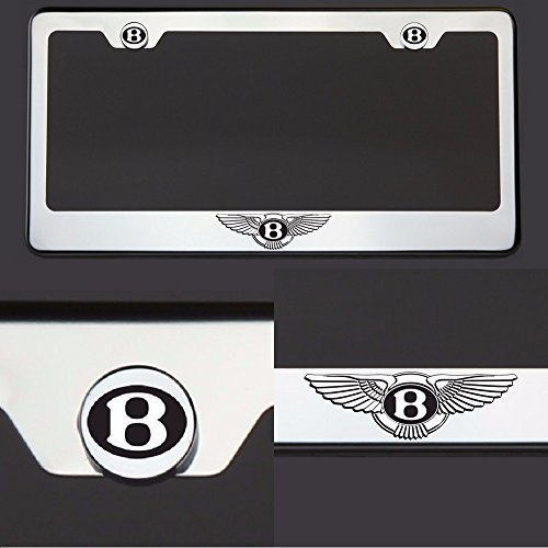 Bentley Black Tire Valve Stem Caps Silver Logo Hem