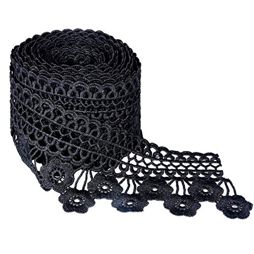 (Ancefine 8CM Width Europe Embroidery Lace Trim Inelastic Floral Pattern Eyelet Fabric for Sewing DIY Making and Bridal Wedding Decorations (Black) )