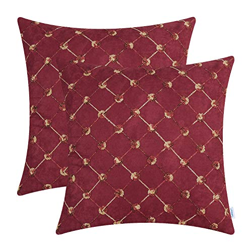 CaliTime Pack of 2 Supersoft Throw Pillow Covers Cases for Couch Bed Sofa Decor Modern Diamonds Shape Trellis Geometric Chain Embroidered 18 X 18 Inches Dark Red (Set Maroon Sofa)