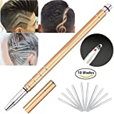 Hair Tattoo Trim Styling Razor Pen Gold, Face Eyebrow Shaping Device, Hair Engraving Pen + 10 Stainless Steel Blades + Tweezers Eyebrows Beards Razor Shaving Tool