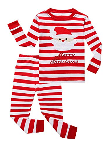 IF Pajamas Christmas Striped Santa Claus Little Girls Boys Pjs 100% Cotton Long Sleeve Kid Pajamas Sets Size 8 Red -