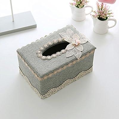 Paño de dibujo de cuadro de coche de cartón con puntilla caja de pañuelos de papel salón Dibujar cuadro tirar rollo de papel servilleta set, gris: Amazon.es: Hogar