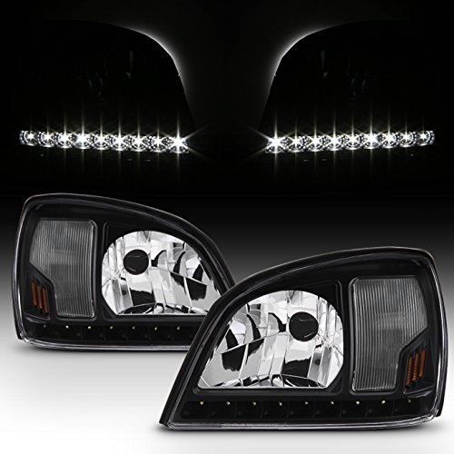 For Black 2000 2001 2002 2003 2004 2005 Cadillac Deville Left+Right Side Headlights Headlamps Set