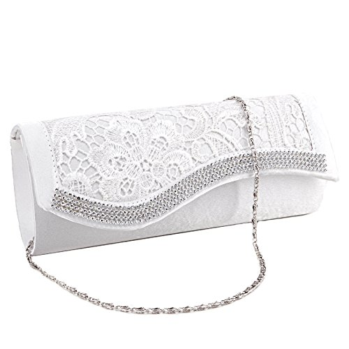 Wedding White Handbag Floral Bag Satin Anladia Lace Diamantes Crystal Purse Evening Bridesmaid Ivory Clutch vnnxZW
