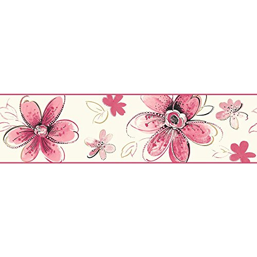 York Wallcoverings Brothers and Sisters V Bohemian Floral Border, Pearl, Bright Pink, Soft Pink, Black, Gold