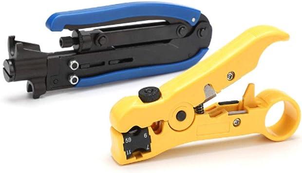 Herramienta De Compresión Coaxial, Kit De Engarzado De Cable Coaxial, Pelacables Y Herramienta De Corte Para Pelar Cables Planos O Redondos STP/ UTP (RG-59, RG-6, RG-7, RG-11): Amazon.es: Bricolaje y herramientas