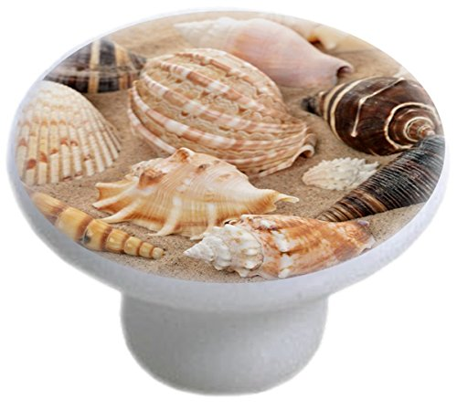 Carolina Hardware and Decor 1086 Seashells on Sand Ceramic Cabinet Drawer Knob