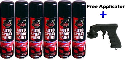 6-x-300ml-black-gloss-aerosol-auto-spray-paint-cans-bike-car-for-interior-and-exterior-application-f
