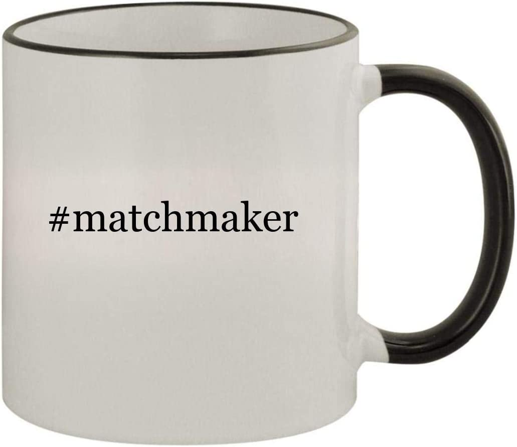 #matchmaker - 11oz Ceramic Colored Rim & Handle Coffee Mug, Black