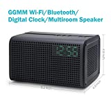 GGMM E3 Wireless WiFi/ Bluetooth Speaker with LED Alarm Clock & Smart USB Charging port, Featuring Airplay, DLNA, Spotify, Pandora, and Multi-Room Play, Streaming music from your Devices (Grey)