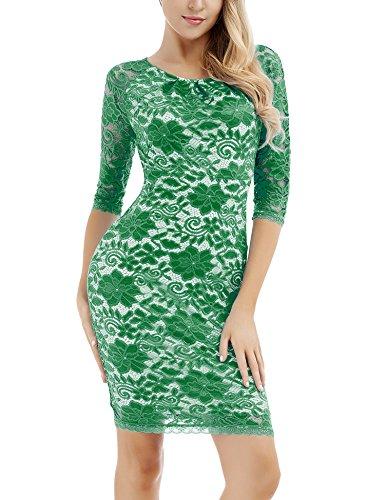 Vestido Mujer para Cóctel Bodycon Vintage para Boda con Manga Larga con Encaje Floral Vestido para Fiesta Verde