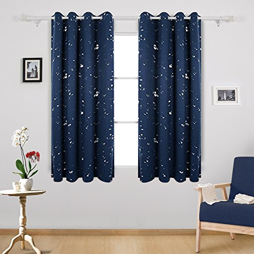 Deconovo Silver Dots Printed Navy Blue Blackout Grommet Curtains Bedroom Curtains and Drapes for Boys Room 52 W x 63 L Navy Blue 2 - Blue Black Silver