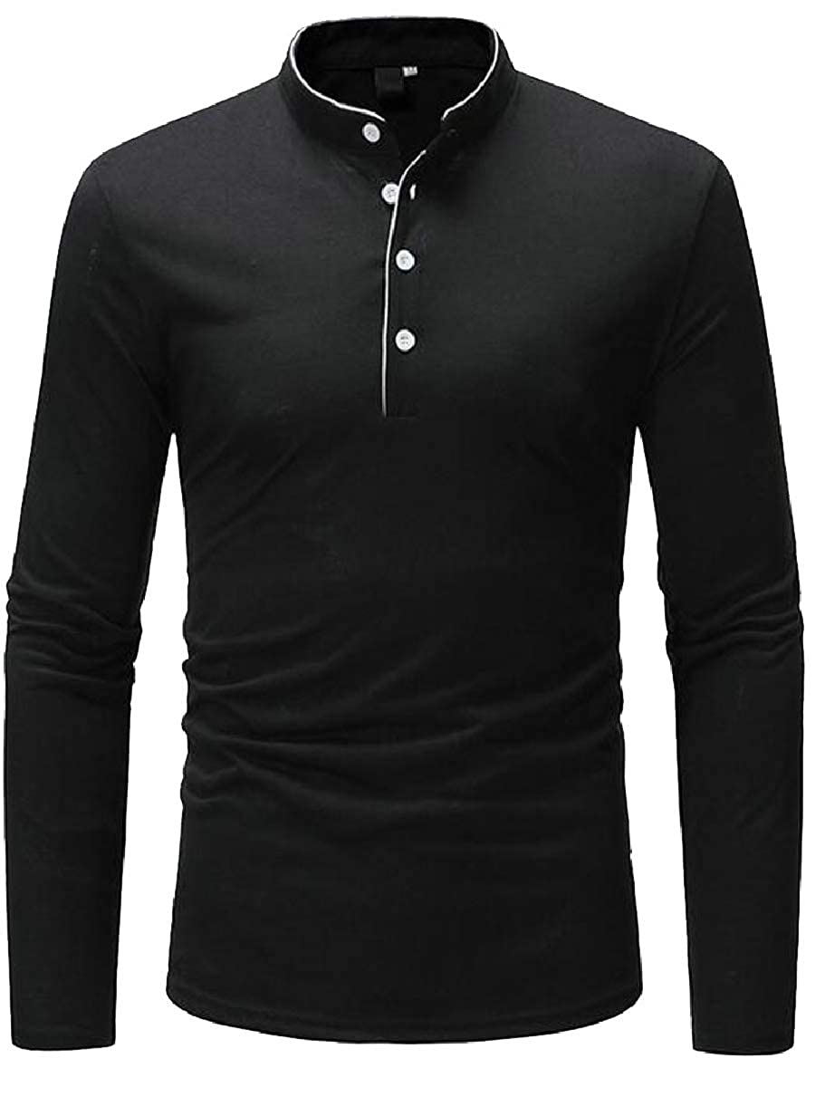 CBTLVSN Mens Fashion Slim Shirts Basic Solid Henley Workout Long Sleeve T-Shirt