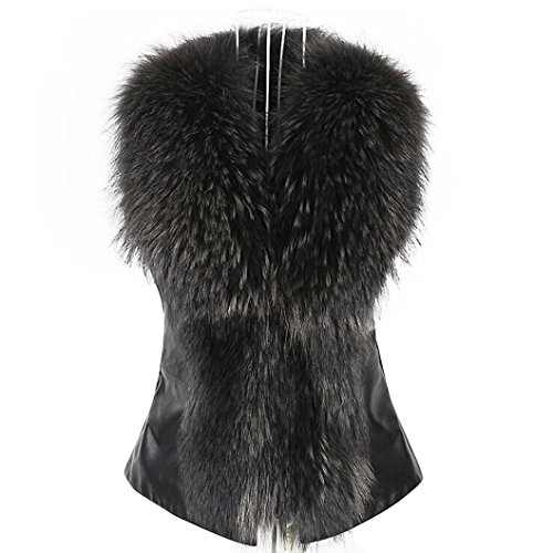 de invierno sintética chaleco Negro mujer de sin de Chaleco abrigo de Chaleco Chaleco de piel largo Chaleco mangas PTnx0x
