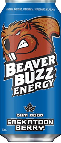 Canadian Beaver Buzz (BLUE Can) SASKATOON BERRY Energy Drink - 16oz x 12pack
