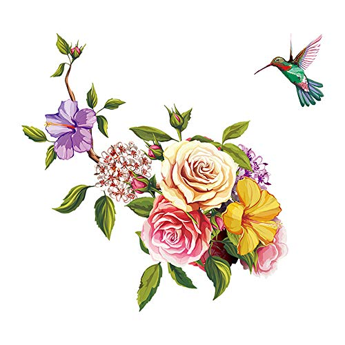 (ufengke Flowers Wall Stickers Hummingbird Removable Wall Art Decals Wall Decor for Bedroom Office Living Room)