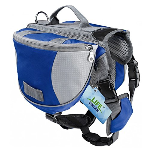 Lifeunion Saddle Bag Backpack for Dog, Tripper Hound Bag Travel Hiking Camping (Blue + (Saddle Old English Bag)