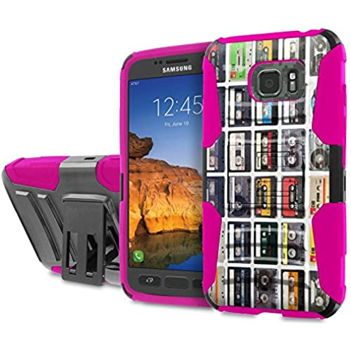 AT&T [Galaxy S7 Active] [5.2 Screen] Armor Case [SlickCandy] [Black/ Hot Pink] Heavy Duty Defender [Holster] [Kick Stand] Phone Case - [Cassette Pattern] Sales
