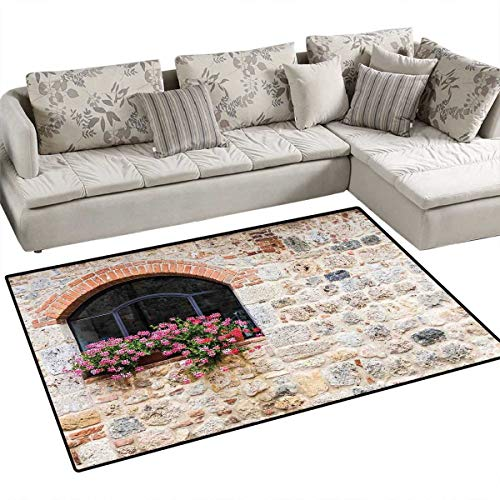 Tuscan Bath Mats Carpet Gothic Architecture Abandoned Old Stone House Vintage Stairs in Tuscany Door Mats for Inside Non Slip Backing 4'x6' Ivory Pink and Salmon