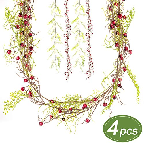 Everflora Evergreen Berry Pip Garland Set - 4pc Artificial Faux Greenery Hand-Painted Red Berry and Evergreen- Holiday Xmas Fireplace Decor for Rustic and Country Farmhouse Feel - Indoor/Outdoor 16ft
