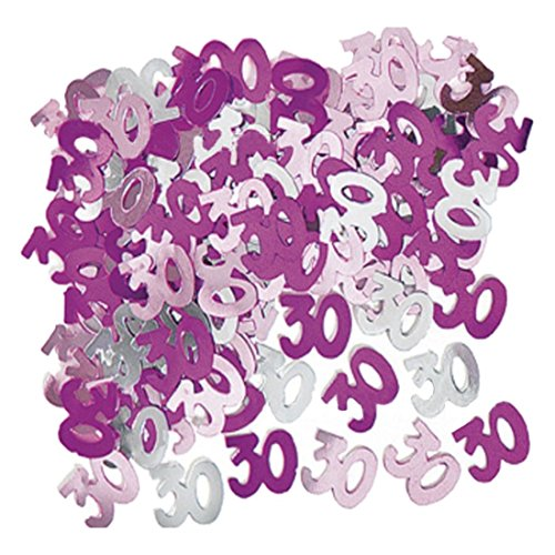 SODIAL(R) Pink + silver + purple Foil 30th Birthday Confetti (Purple 30th Birthday Decorations)
