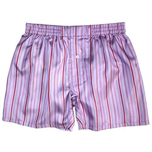 Royal Silk¨ - Sexy Violet Madras Stripes - M - MenÕs Silk Boxers (Madras Boxers)