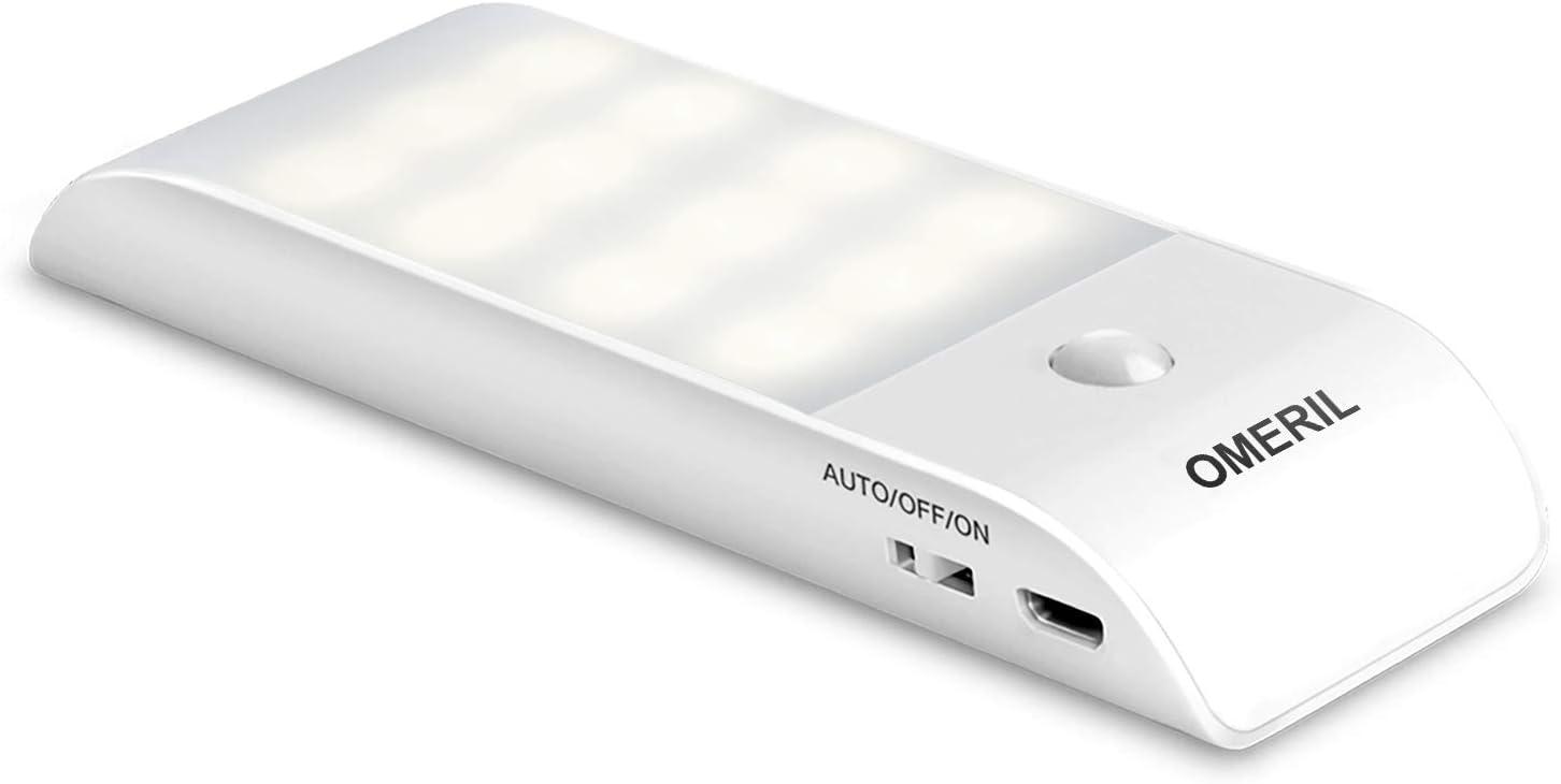 Luz Noche, OMERIL Luz LED Armario Recargable USB con Sensor de Movimiento, 12LED Luz Nocturna con 3 Modos (AUTO/ON/OFF), Luz Cálida para Pasillo, Escalera, Cocina, Baño, Garaje, Gabinete y Sótano