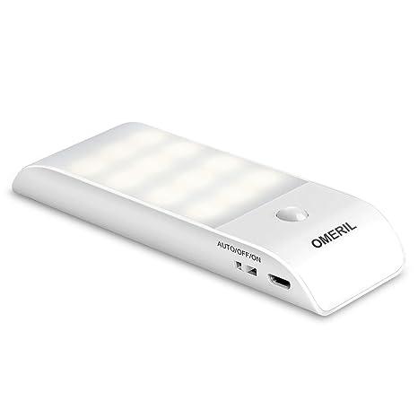 OMERIL - Lámpara de techo con sensor de movimiento, 12 LED, recargable por USB